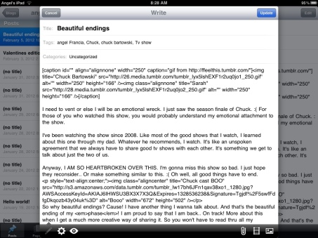 WordPress iPad app screenshot