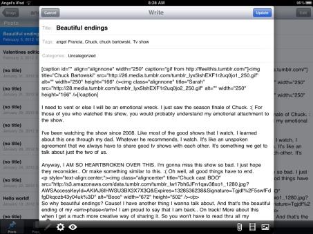WordPress iPad app screenshot